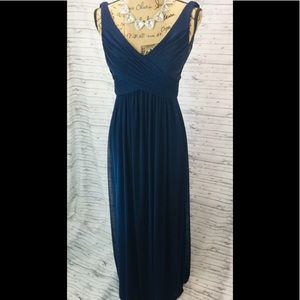 Navy blue chiffon evening gown